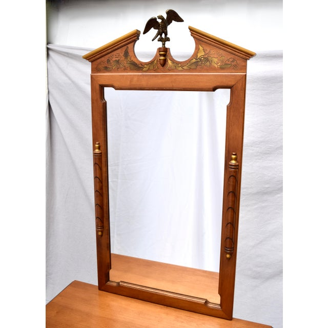 Vintage Tell City Furniture Company cabinet and mirror of solid maple adorned with an impressive brass American Eagle to...