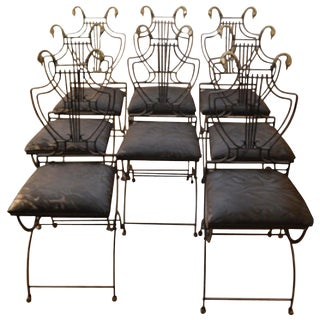 Set of Eight Italian Regency Lyre Back Classical Form Dining Chairs For Sale