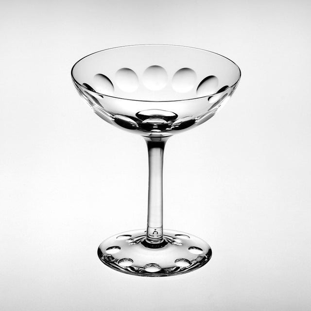 Set of 6 Mixed Cut Crystal Champagne Coupés For Sale - Image 6 of 8