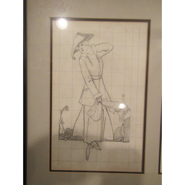 Framed Original Magazine Fashion Pencil Sketch and Matching Black Ink Drawing For Sale - Image 6 of 7