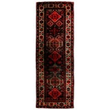 Image of Antique Lankeran Red and Beige Wool Rug - 3′4″ × 9′10″ For Sale