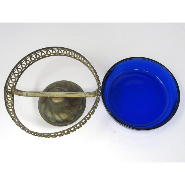 Metal Vintage Cobalt Glass Bowl in Pierced Metal Stand For Sale - Image 7 of 8