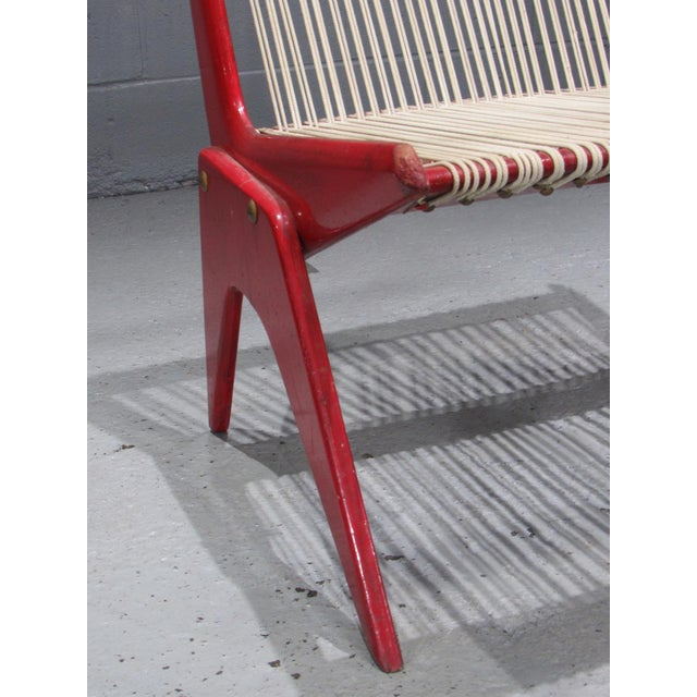 Wood 1950's Mid Century Modern Red Painted Wood and Rope Scissor Chair For Sale - Image 7 of 10