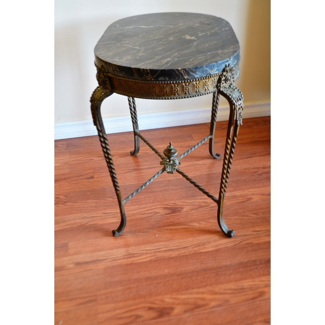 1950s Louis XV Style Wrought Iron Garden Oval Side Table With Thick Marble Top. For Sale - Image 5 of 9
