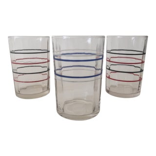Vintage 1930's Art Deco Multicolor Striped Juice Glasses - Set of 3