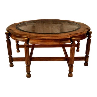 Hollywood Regency Burlwood and Brass Trestle Form Coffee Table For Sale