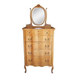 20th Century Traditional Birdseye Maple Dresser With Attached Mirror For Sale