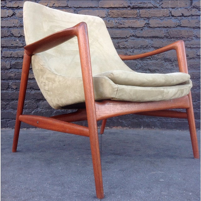 Danish Suede Lounge Chair - Image 2 of 7