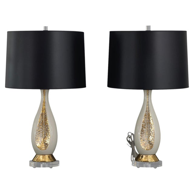 Danish Mid Century Modern Pr of Creamy White Porcelain w/ Gold Accents & Lucite Base Table Lamps - Image 1 of 6