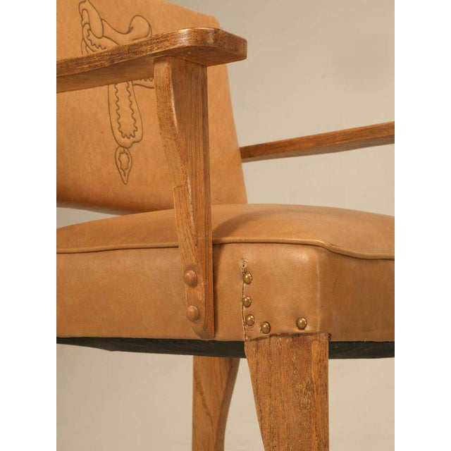 """Magnificent Original """"Ranch Oak"""" Cowboy Arm Chairs W/Saddle Decoration - a pair For Sale In Chicago - Image 6 of 10"""