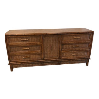 American of Martinsville Faux Bamboo & Wicker 9 Drawer Dresser