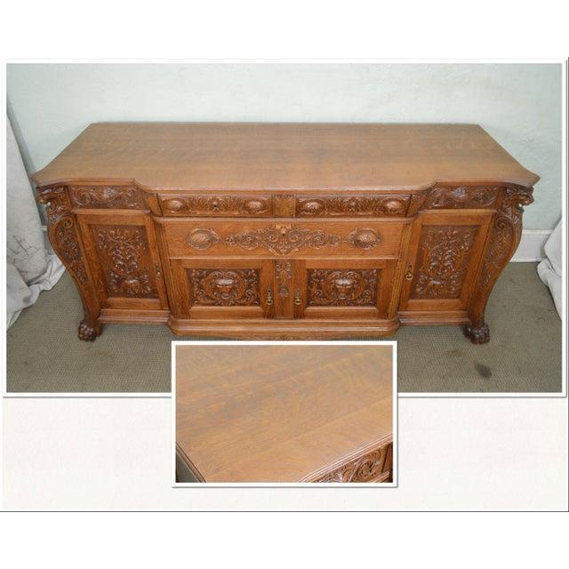 Renaissance Horner Antique Lion Carved Large Oak Sideboard For Sale - Image 3 of 13