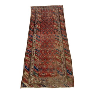 """Antique Caucasian Persian Rug Runner 7'-7""""x3'-7"""" Wool Soft Colors Low Pile For Sale"""