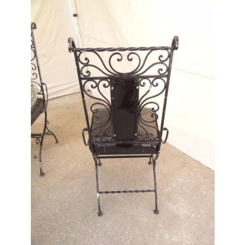 Vintage Regency Iron Patio Dining Set For Sale - Image 9 of 13
