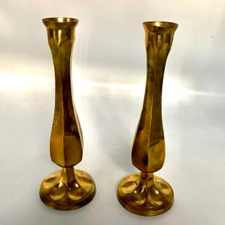 Brass Fluted Vases or Candle Holders - a Pair Preview