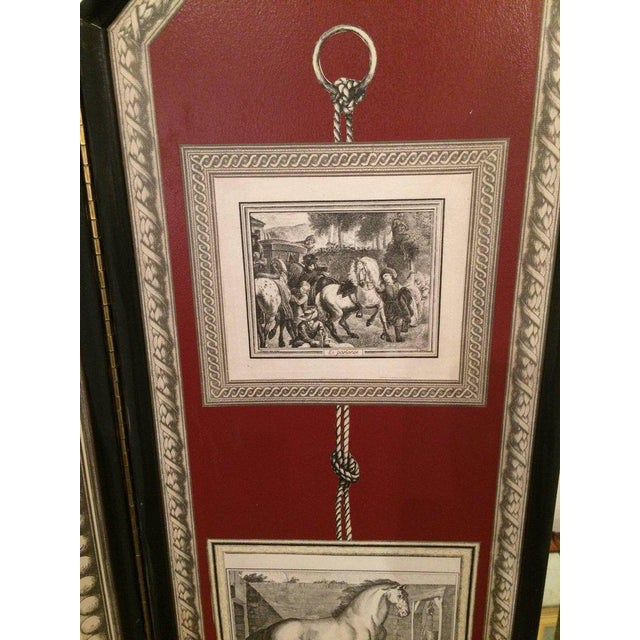 Neoclassical Graphic Fornasetti Style 3 Panel Screen For Sale - Image 3 of 7