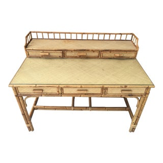 1950s Boho Chic Palm Beach Regency Bamboo & Rattan Desk For Sale