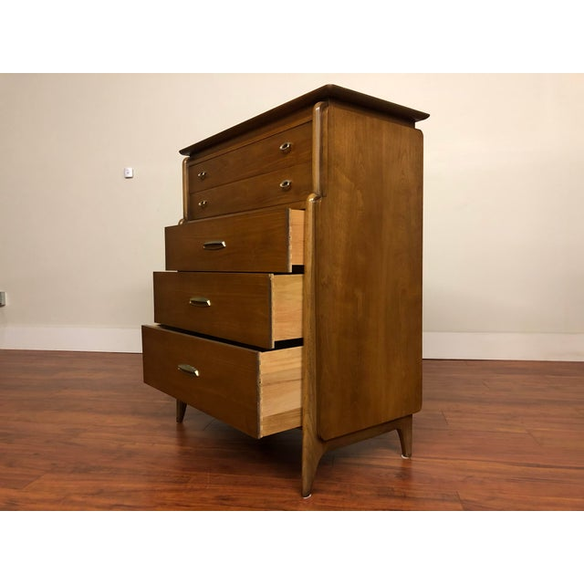 Brown John Van Koert Drexel Projection 1959 Highboy Dresser For Sale - Image 8 of 12