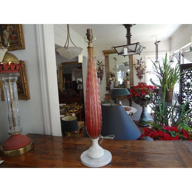 1960s Vintage Italian Mid Century Murano Glass Cranberry Table Lamp For Sale In Houston - Image 6 of 7