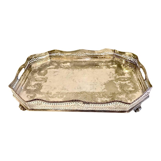 Sheffield Silver Plate Large Gallery Tray For Sale
