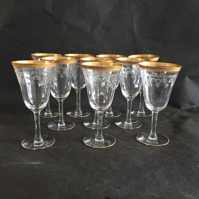 Vintage elegant set of ten,gold rim etched wine glasses, no makers mark, in excellent condition, no cracks or chips....