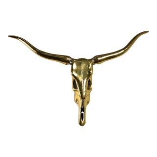 1970s Country Brass Longhorn Steer Skull Wall Sculpture For Sale