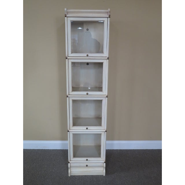 Transitional Globe Wernicke 4 Section White Stacking Narrow Bookcase For Sale - Image 13 of 13