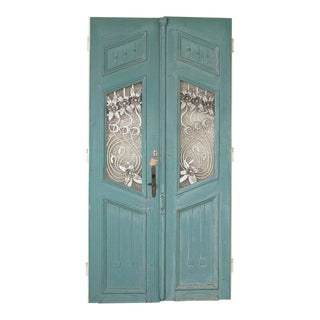 Antique Blue Painted Doors - a Pair For Sale