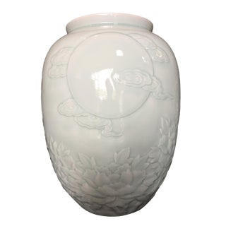 Lg Celadon Moon & Chrysanthemum Vase