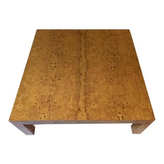 "Mid Century Modern Burl Wood Coffee Table 42"" Parsons Cocktail Table 1970 For Sale"