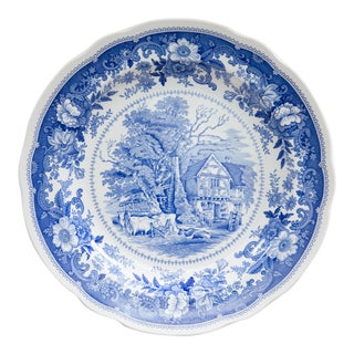 "English Spode Blue and White Cottage 10.5"" Plate For Sale"