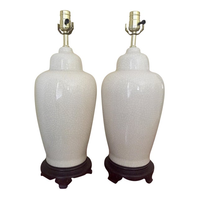 White Ceramic Crackle Glazed Lamps - a Pair - Image 1 of 11