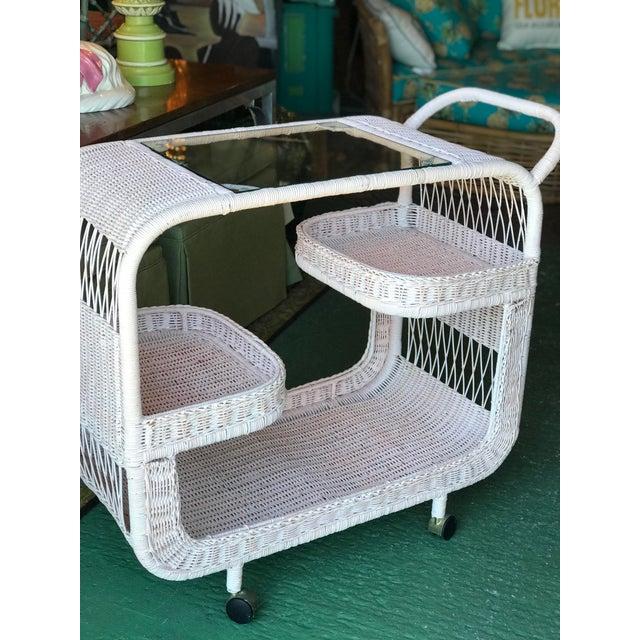 Vintage Palm Beach Regency Pink Wicker Bar Cart For Sale - Image 12 of 13