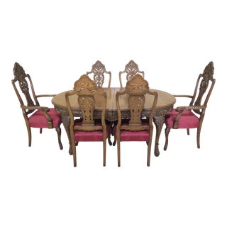 1930s French Carved Oak Dining Room Set - 7 Pieces For Sale