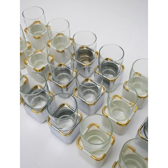 Glass Set of 17 Resin,Glass and Gold-Plated Patio/Garden Pool Drinking Glasses For Sale - Image 7 of 11