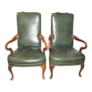 Pair of British Green Leather Chairs - Vintage Library Goose Neck by LeatherCraft For Sale