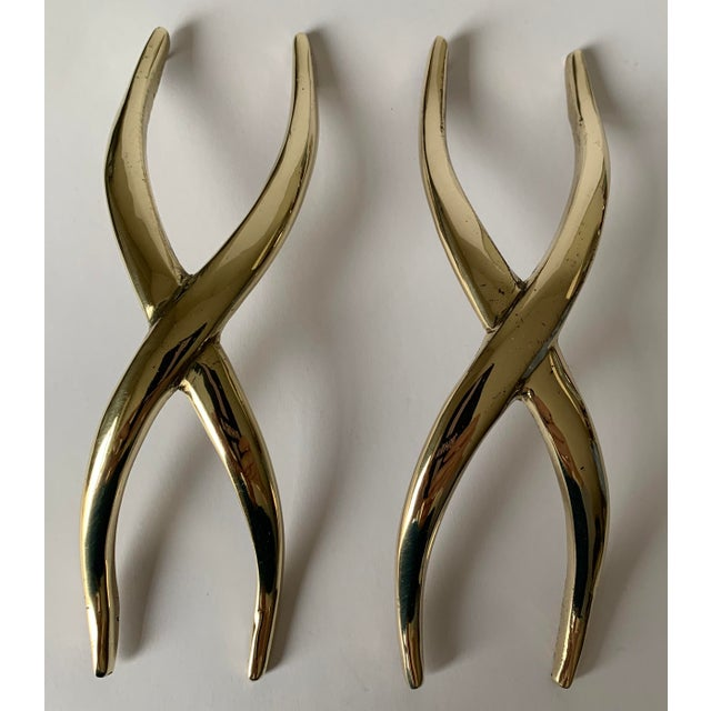 Pair of 1950s Polished Brass X Pulls For Sale - Image 10 of 13