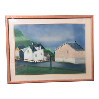Coastal Village Painting Framed and Signed For Sale