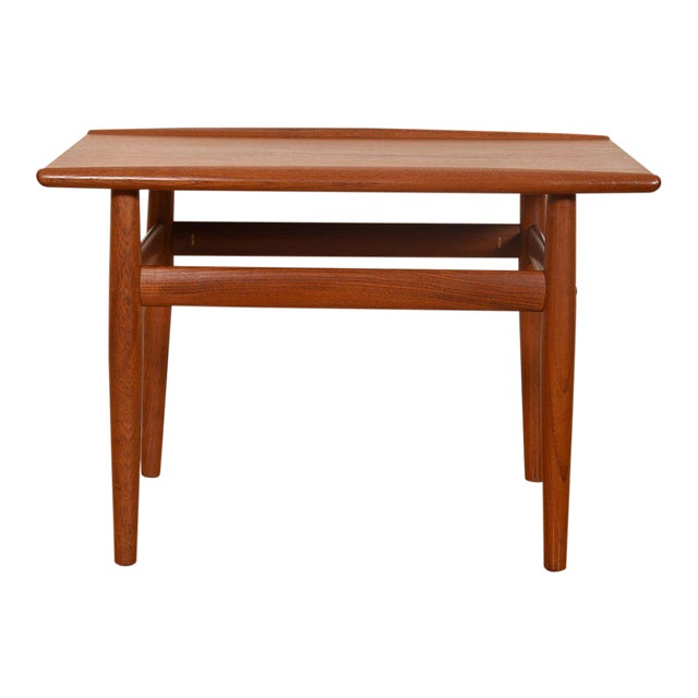 Grete Jalk Teak End / Accent Table With Raised Lip Top For Sale