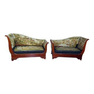 Vintage Mid Century Regency Style Needlepoint Recamiers- A Pair For Sale