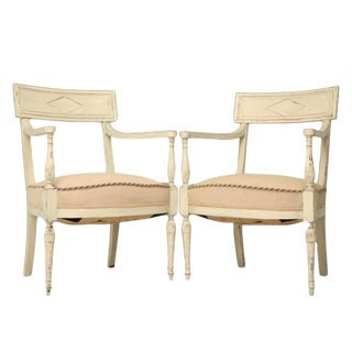 Pair of Antique French Directoire Arm Chairs For Sale