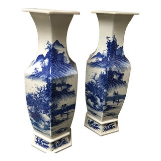 Pair of 1800's Blue and White Japanese Porcelain Hexagon Vases For Sale