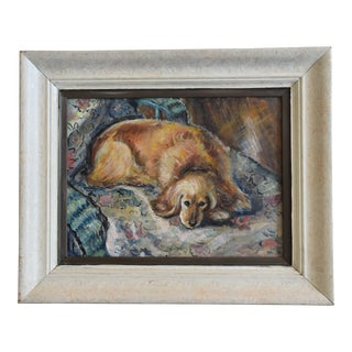 Midcentury Resting Red Dog on Sofa Oil Painting
