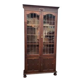 Jacobean English Oak Leaded Glass Door Bookcase C.1920 For Sale