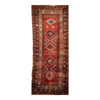 Late 1800s Caucasian Kazak Rug- 3′10″ × 9′2″ For Sale