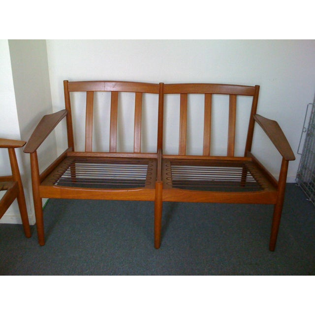 Mid 20th Century Mid-Century Modern Scandinavian Teak Loveseat For Sale - Image 5 of 5