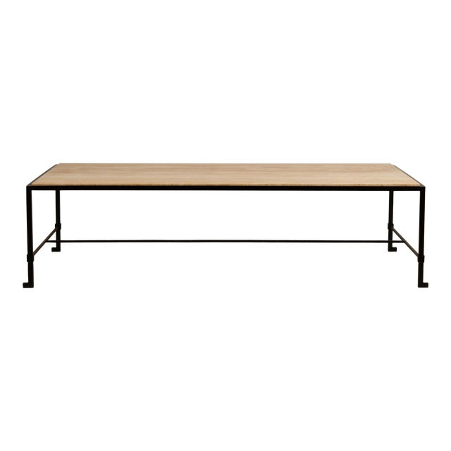 Long 'Diagramme' Wrought Iron and Travertine Coffee Table by Design Frères For Sale
