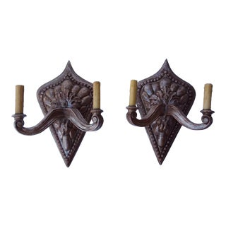 Pair of Modernist Carved Wood Sconces With Silvered Finish