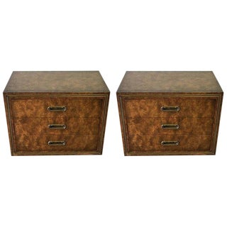 Pair of Mastercraft Burl and Brass Chests or Nightstands by Bernhard Rhone For Sale