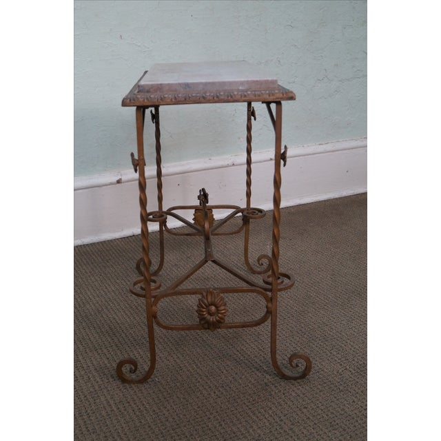Antique Wrought Iron Marble Top Side Table - Image 5 of 10